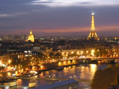 imagem foto vista aerea noturna paris frança